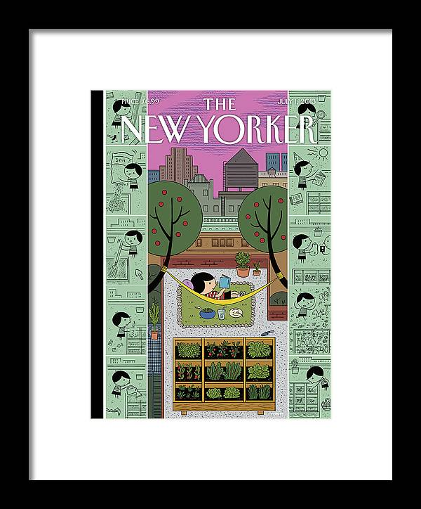 Roof Framed Print featuring the painting New Yorker July 1st, 2013 by Ivan Brunetti
