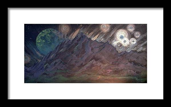 Cosmic Light Series Framed Print featuring the painting Cosmic Light Series by Len Sodenkamp