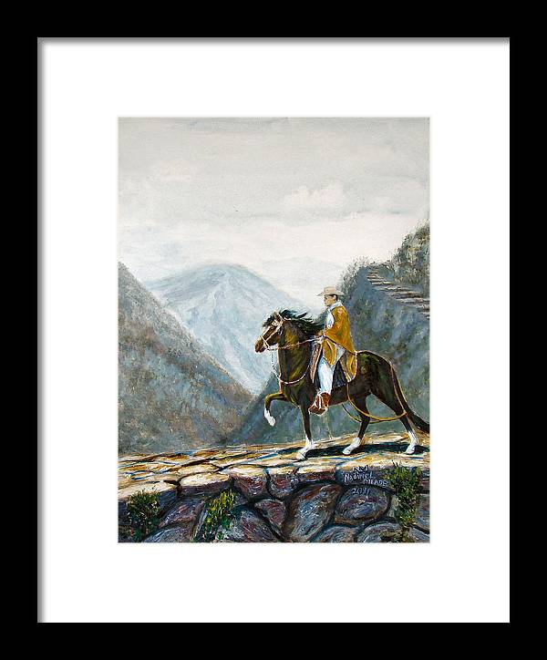 Peruvian Framed Print featuring the painting 410 Peruvian Mountain Trail by Nadine Meade