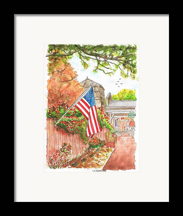Flag Framed Print featuring the painting 4th Of July In Los Olivos, California by Carlos G Groppa