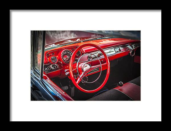 V8 Engine Framed Print featuring the photograph 1957 Chevrolet Bel Air by Rich Franco