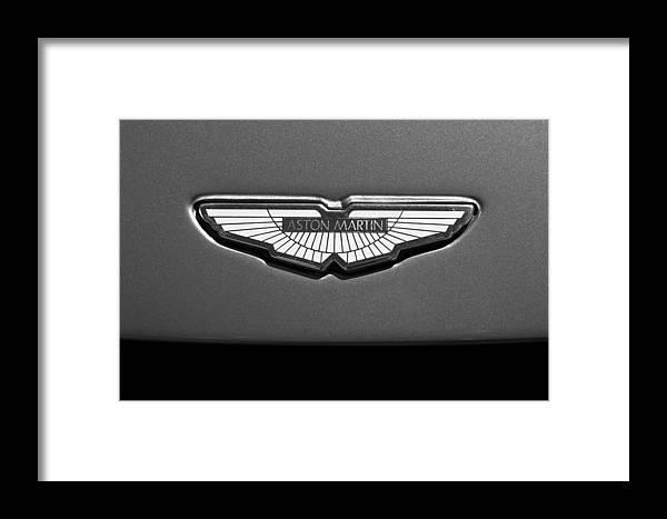 Aston Martin Emblem Framed Print featuring the photograph Aston Martin Emblem by Jill Reger