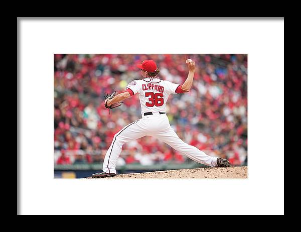 Baseball Pitcher Framed Print featuring the photograph Atlanta Braves V. Washington Nationals by Mitchell Layton