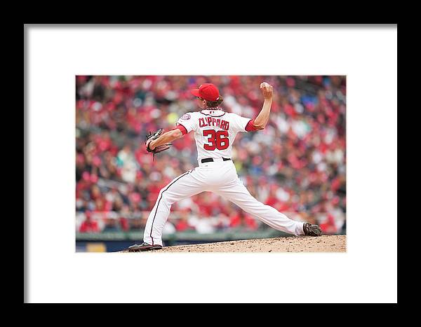 Baseball Pitcher Framed Print featuring the photograph Atlanta Braves V. Washington Nationals by Mitchell Layton