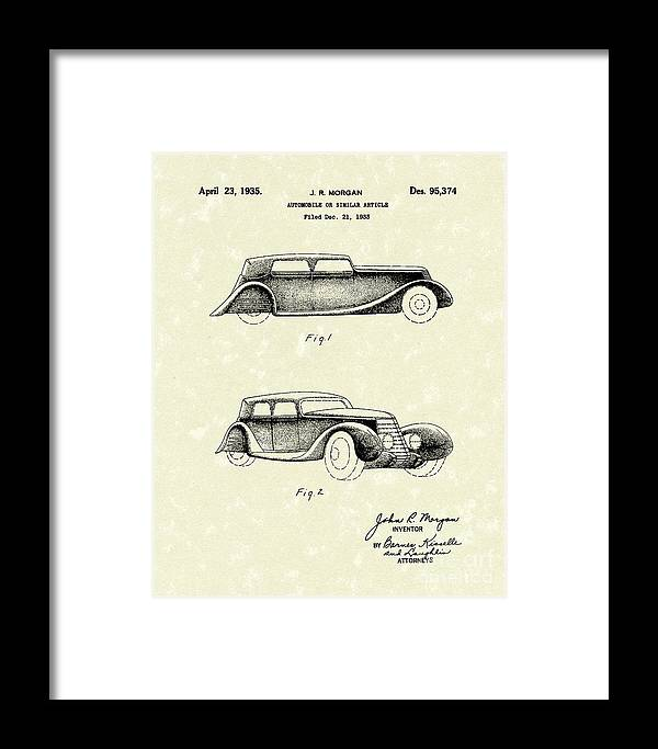 Morgon Framed Print featuring the drawing Automobile 1935 Patent Art by Prior Art Design