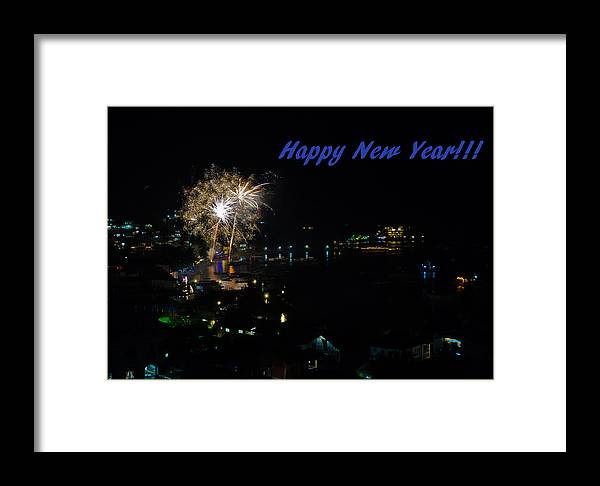 Asia Framed Print featuring the photograph Happy New Year Greeting Card - Fireworks Display by Colin Utz