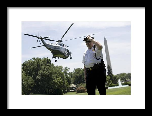 America Framed Print featuring the photograph Marine One by JP Tripp