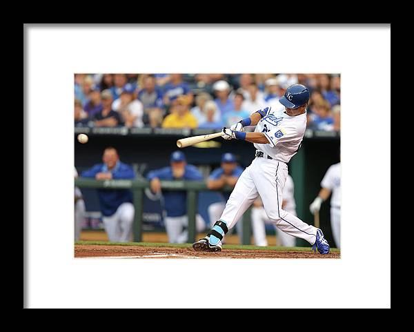American League Baseball Framed Print featuring the photograph New York Yankees V Kansas City Royals by Ed Zurga