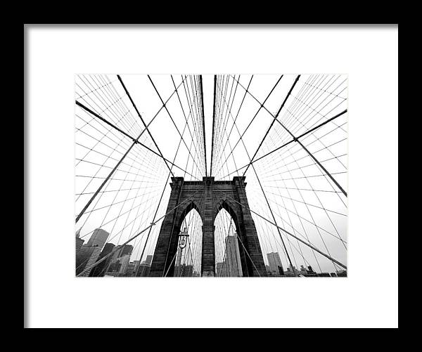 Ny Framed Print featuring the photograph Nyc Brooklyn Bridge by Nina Papiorek
