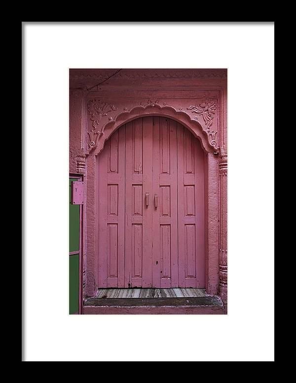 Description Framed Print featuring the photograph Old Doors India, Varanasi by Stereostok