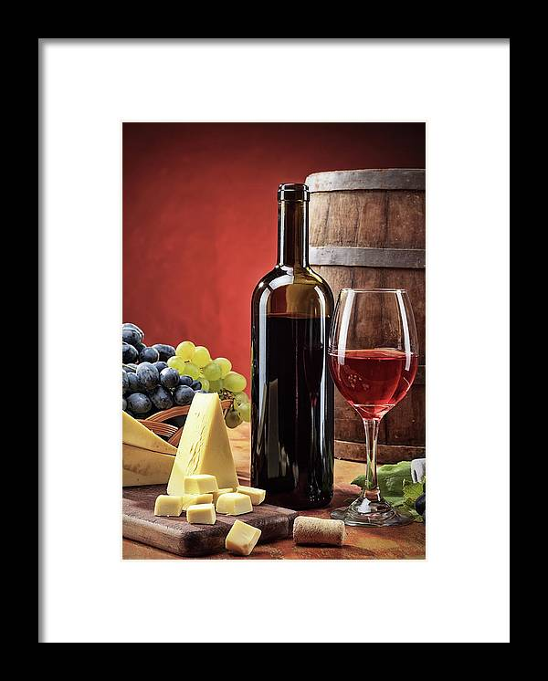 Cheese Framed Print featuring the photograph Red Wine Composition by Valentinrussanov