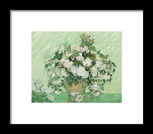 Van Gogh Framed Print featuring the painting Roses by Vincent van Gogh