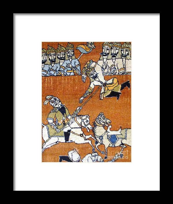 Shahnameh Framed Print featuring the photograph Shahnameh Ferdowsi Rostam And Sohrab Photos Of Persian Antique Rugs Kilims Carpets by Persian Art