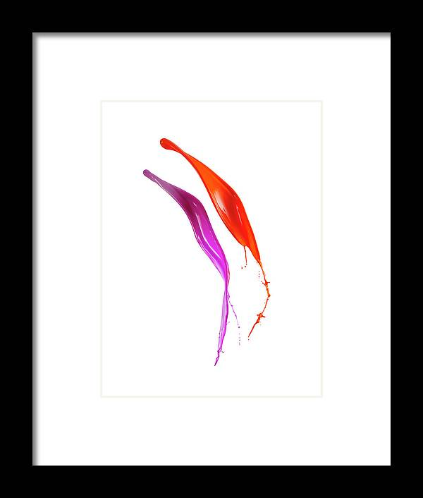 Orange Color Framed Print featuring the photograph Splashing Of The Color Paint by Level1studio
