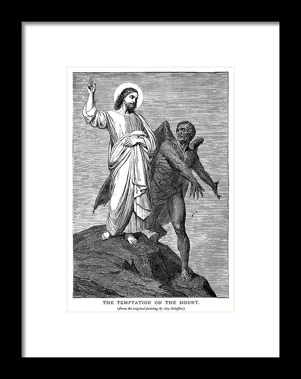 1854 Framed Print featuring the painting Temptation Of Christ by Granger