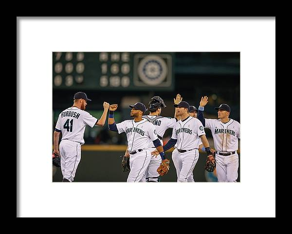 People Framed Print featuring the photograph Texas Rangers V Seattle Mariners by Otto Greule Jr