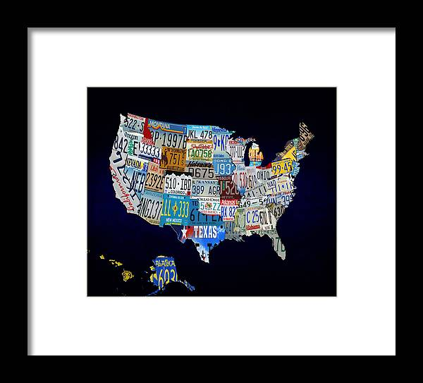 License Plate Framed Print featuring the digital art The Usa License Tag Map by Brian Reaves