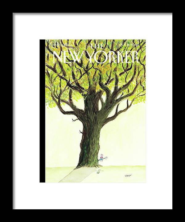 Tree Framed Print featuring the painting New Yorker October 15th, 2007 by Jean-Jacques Sempe