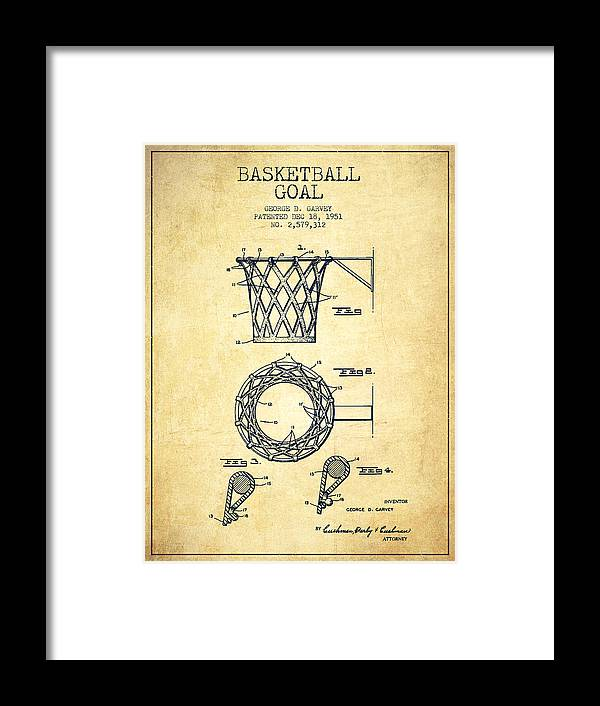 Hoop Patent Framed Print featuring the drawing Vintage Basketball Goal Patent From 1951 3 by Aged Pixel