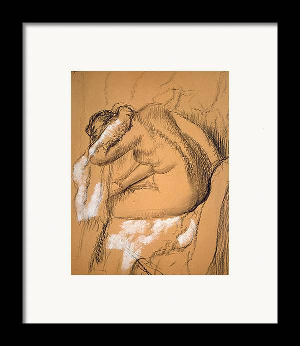 Framed Print featuring the drawing Woman Drying Herself by Edgar Degas