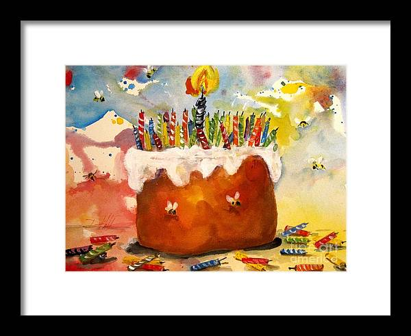 Birthday Framed Print featuring the painting 50 Candles The Big B Day by Delilah Smith