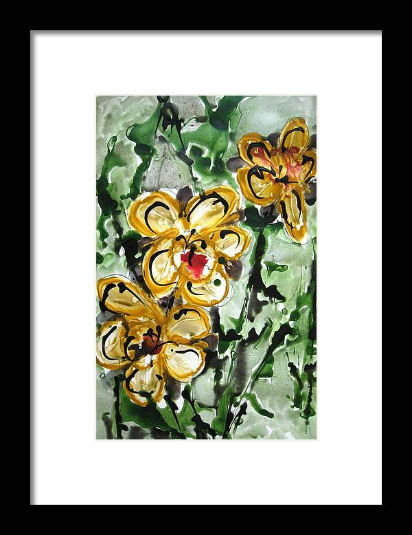 Floral Art Framed Print featuring the painting Heavenly Flowers by Baljit Chadha