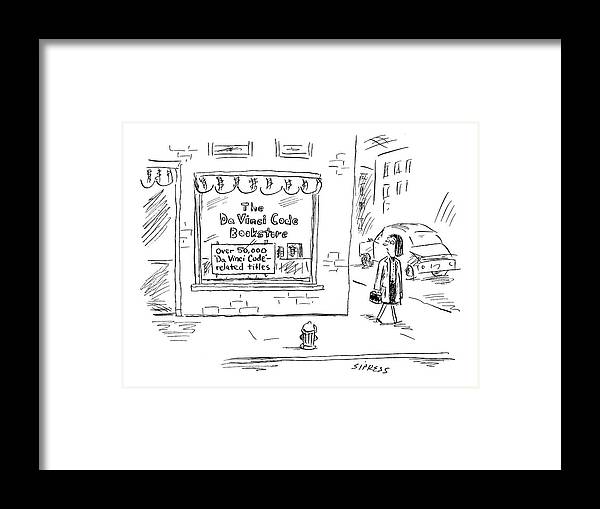 Shopping Consumerism Urban Books   (woman Passes Store Called: 'the Da Vinci Code Bookstore Framed Print featuring the drawing New Yorker March 21st, 2005 by David Sipress