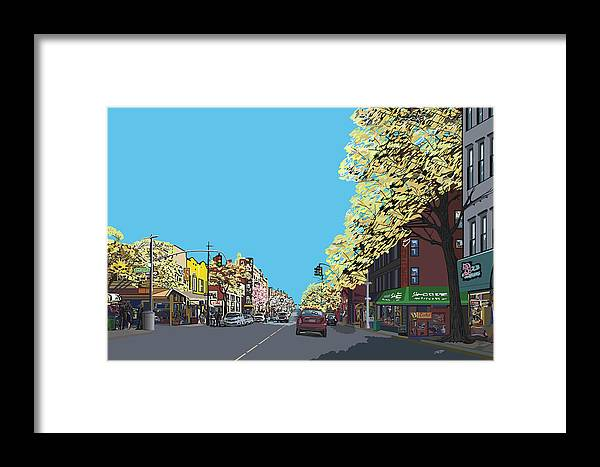 Landscape Framed Print featuring the digital art 5th Ave And Garfield Park Slope Brooklyn by James Mingo