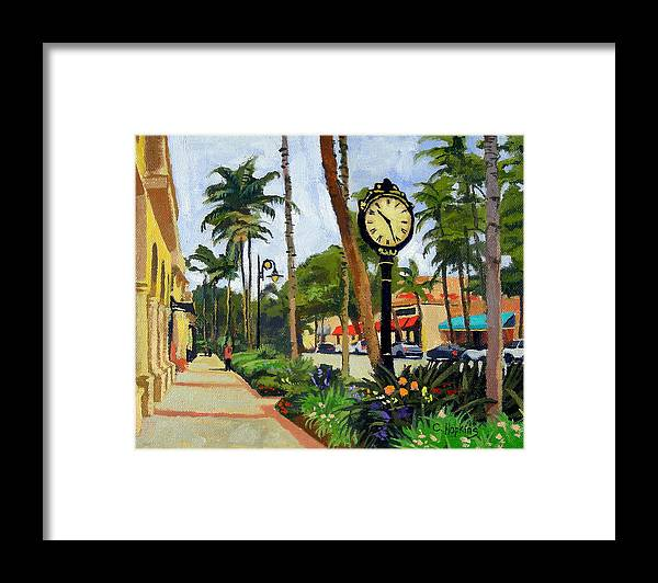 Christine Hopkins Framed Print featuring the painting 5th Avenue Naples Florida by Christine Hopkins