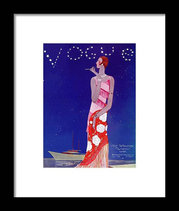 Illustration Framed Print featuring the photograph A Vintage Vogue Magazine Cover Of A Woman by Eduardo Garcia Benito