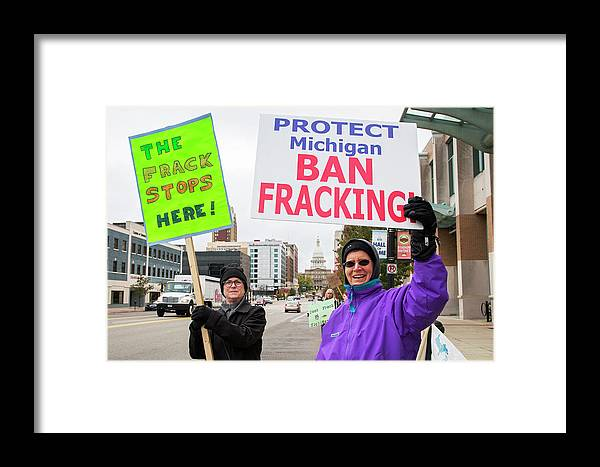 Human Framed Print featuring the photograph Anti-fracking Protest by Jim West