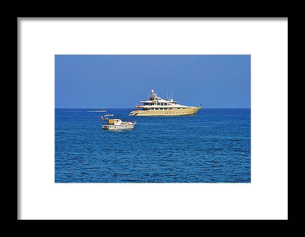 Port Framed Print featuring the photograph Antibes - Superyachts Of Billionaires by Christine Till