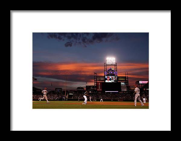 American League Baseball Framed Print featuring the photograph Arizona Diamondbacks V Colorado Rockies by Doug Pensinger