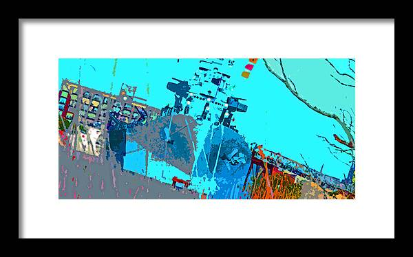 Framed Print featuring the digital art Battleship North Carolina by Chick Phillips