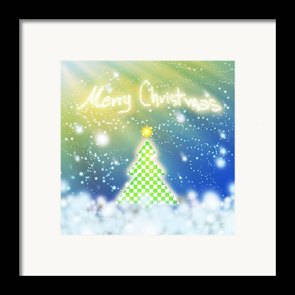 Backdrop Framed Print featuring the digital art Chess Style Christmas Tree by Atiketta Sangasaeng