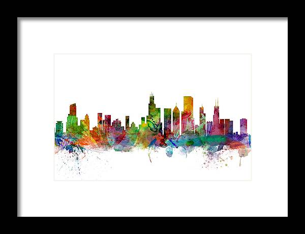 Chicago Framed Print featuring the digital art Chicago Illinois Skyline by Michael Tompsett
