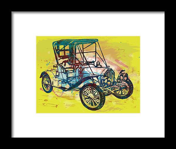 Nude Framed Print featuring the drawing Classical Car Stylized Pop Art Poster by Kim Wang