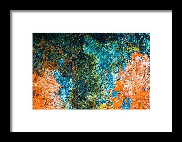 Abstract Framed Print featuring the photograph Colored Rust Metal by Alain De Maximy