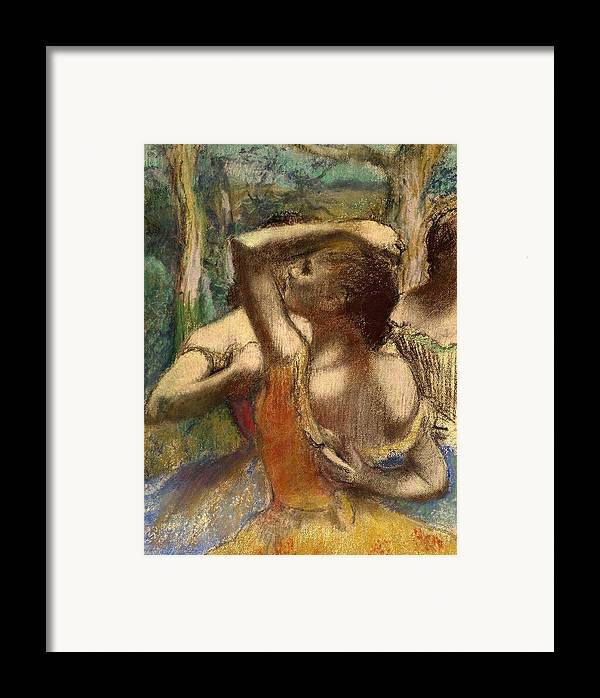 Degas Framed Print featuring the pastel Dancers by Edgar Degas