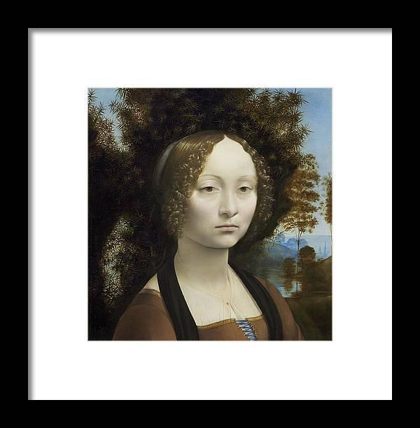 Da Vinci Framed Print featuring the painting Ginevra De Benci by Leonardo da Vinci