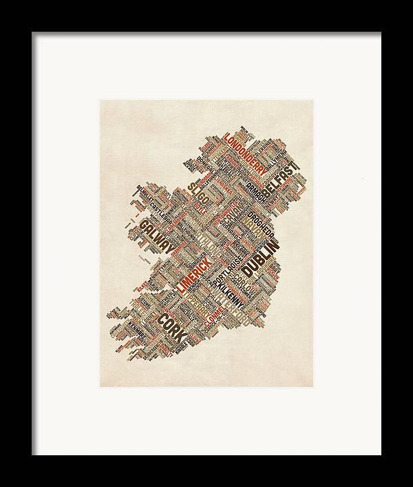 Ireland Map Framed Print featuring the digital art Ireland Eire City Text Map by Michael Tompsett