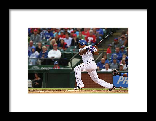 Adrian Beltre Framed Print featuring the photograph Kansas City Royals V Texas Rangers 6 by Ronald Martinez
