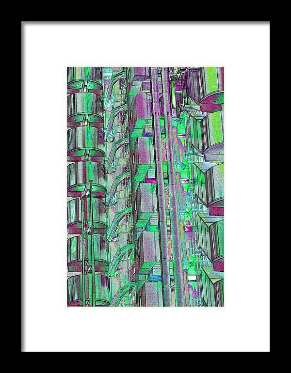 Abstract Framed Print featuring the digital art Lloyd's Building London Art by David Pyatt