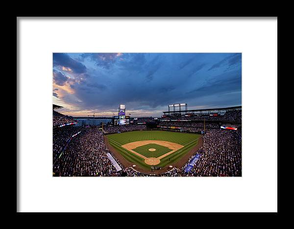 National League Baseball Framed Print featuring the photograph Los Angeles Dodgers V Colorado Rockies by Justin Edmonds