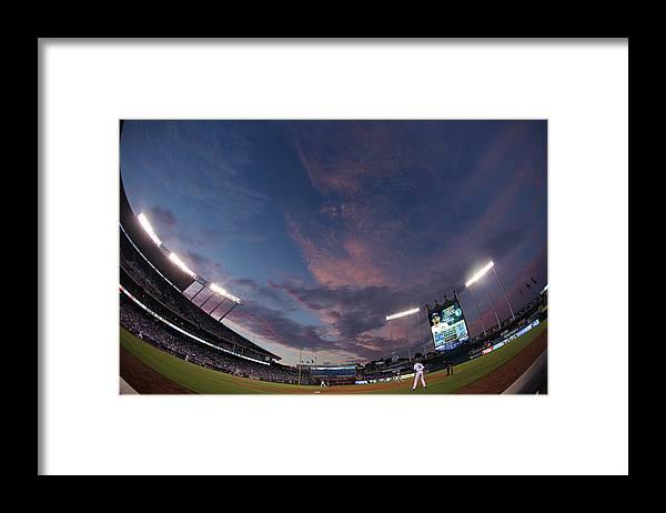 American League Baseball Framed Print featuring the photograph Los Angeles Dodgers V Kansas City Royals by Ed Zurga