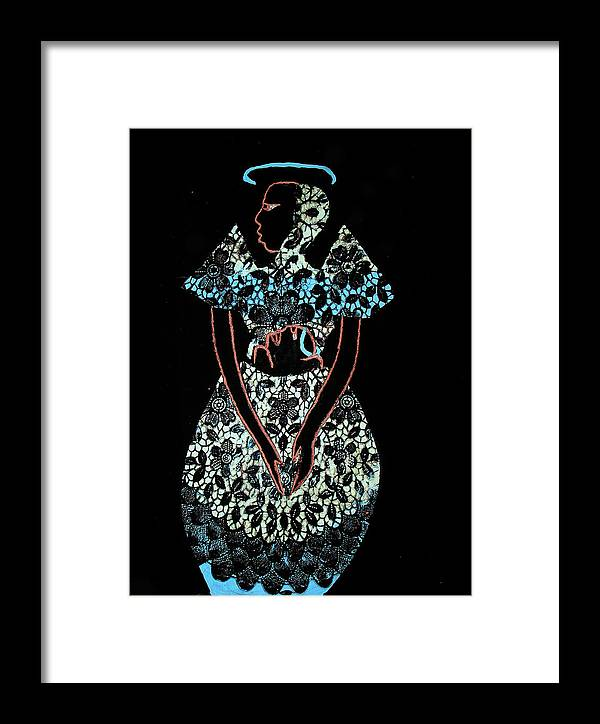Jesus Framed Print featuring the painting Madonna And Child by Gloria Ssali