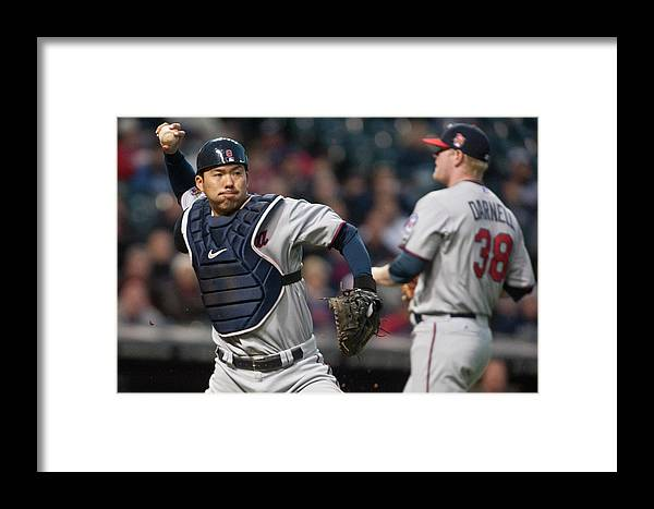 Baseball Catcher Framed Print featuring the photograph Minnesota Twins V Cleveland Indians 6 by Jason Miller
