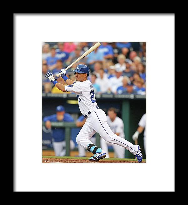 American League Baseball Framed Print featuring the photograph New York Yankees V Kansas City Royals 6 by Ed Zurga