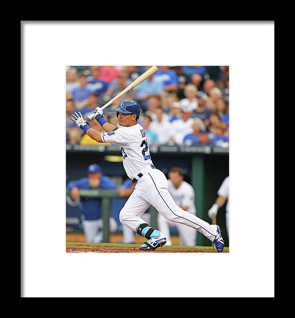 American League Baseball Framed Print featuring the photograph New York Yankees V Kansas City Royals by Ed Zurga