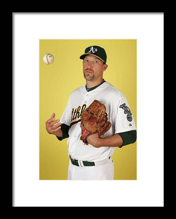 Media Day Framed Print featuring the photograph Oakland Athletics Photo Day by Christian Petersen